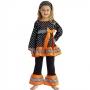 Ann Loren Ann Loren Black & Orange Polka Dot Tunic & Pants