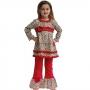 Ann Loren Girls Cotton Leopard Tunic & Red Pants Outfit