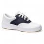 Keds School Days II Lace Up White & Navy Leather Saddle Shoes